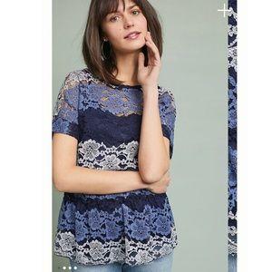 Eva Franco Anthropologie blue lace top